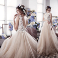 Custom Made Vestido De Casamento Champagne Tulle  Applique Backless A-Line Lace Wedding Dress Wedding Bouquet