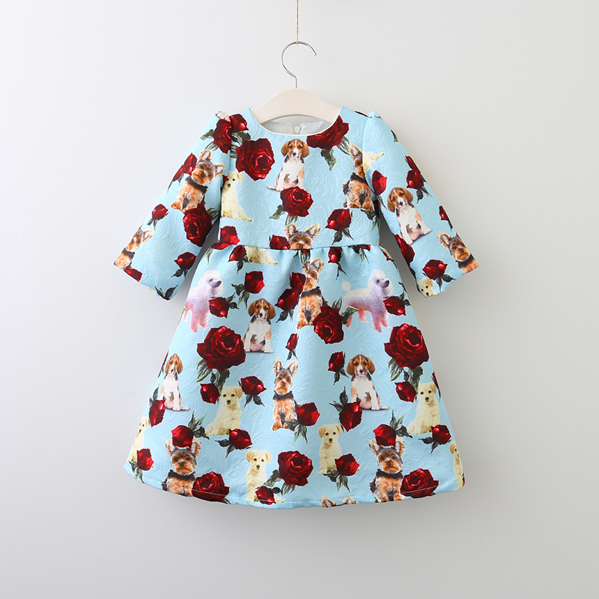Girls Spring Autumn Kids Baby Flower Clothes Short Sleeve Princess Floral Dog Animal Dress Character Children Clothing 6pcs/LOT girls dresses long sleeve 2017 spring brand kids dress for girls clothes baby infant animal flower princess costumes children