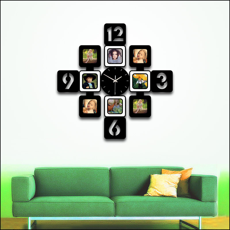 Large Wall Clock Wooden Clock Photo Frame Digital Wall Clock Duvar ...