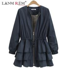 LANMREM 2018 New Summer Fashion Tide Black O-neck Long Sleeve Patchwork Cascading Ruffles Loose Big Size Woman Coat SA873