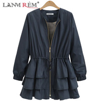 LANMREM 2018 New Summer Fashion Tide Black O neck Long Sleeve Patchwork Cascading Ruffles Loose Big Size Woman Coat SA873