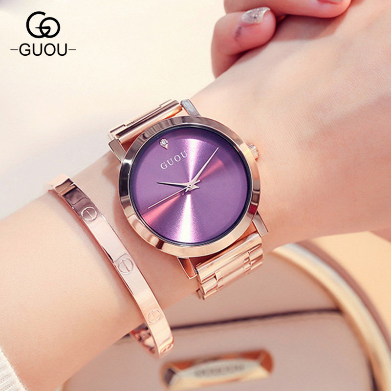 GUOU Luxury Janpanese Core Rose Gold Full Stainless Steel No Fade Quartz Women Ladies Wedding Wrist Watch Wristwatches GU005 finger rock blue enchantress simulation flower assembly model 3d metal puzzle never fade red rose stainless steel jigsaw gift