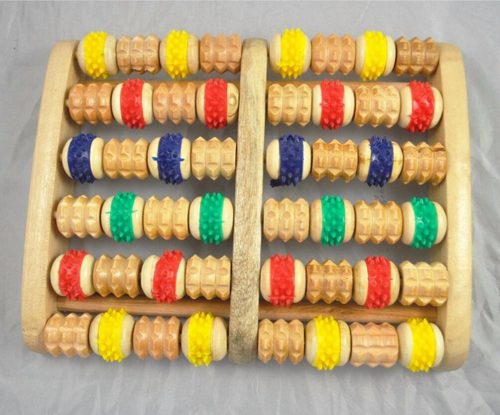 Moledodo 1pc foot healthy care wooden foot massager 6 Rows Wheelw Wooden Massager J21 shipping by China post