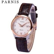 Parnis Brand 40mm Men's 28mm Women's Quartz Watches Sapphire Genuine Leather 50m Waterproof Dress Lover's Quartz Watch Clock