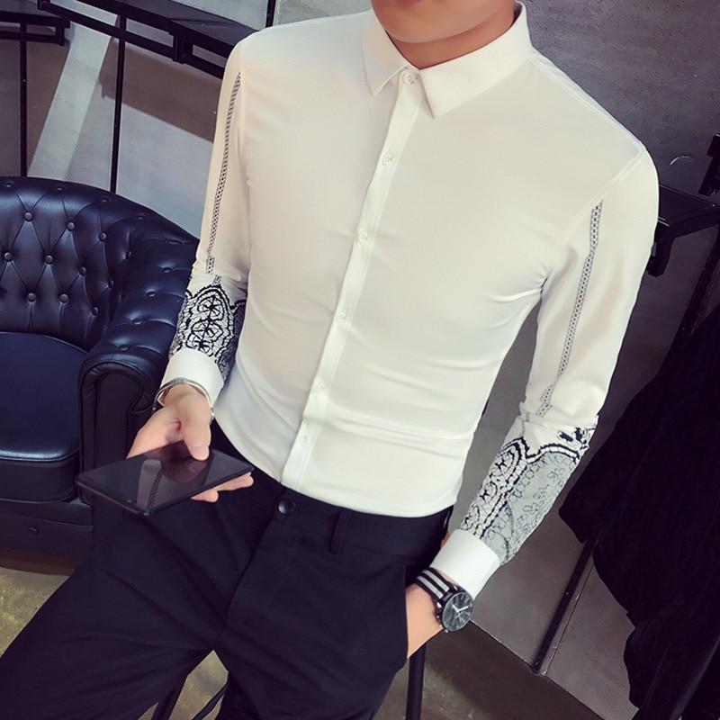 Mode Youth Style Mince Manches D'hiver white Chaud Black Vêtements Imprimé Velours Tendance Nouvelle Hommes Automne Plus Chemise Personnalité De Et 2017 Épais Y0qpIp4