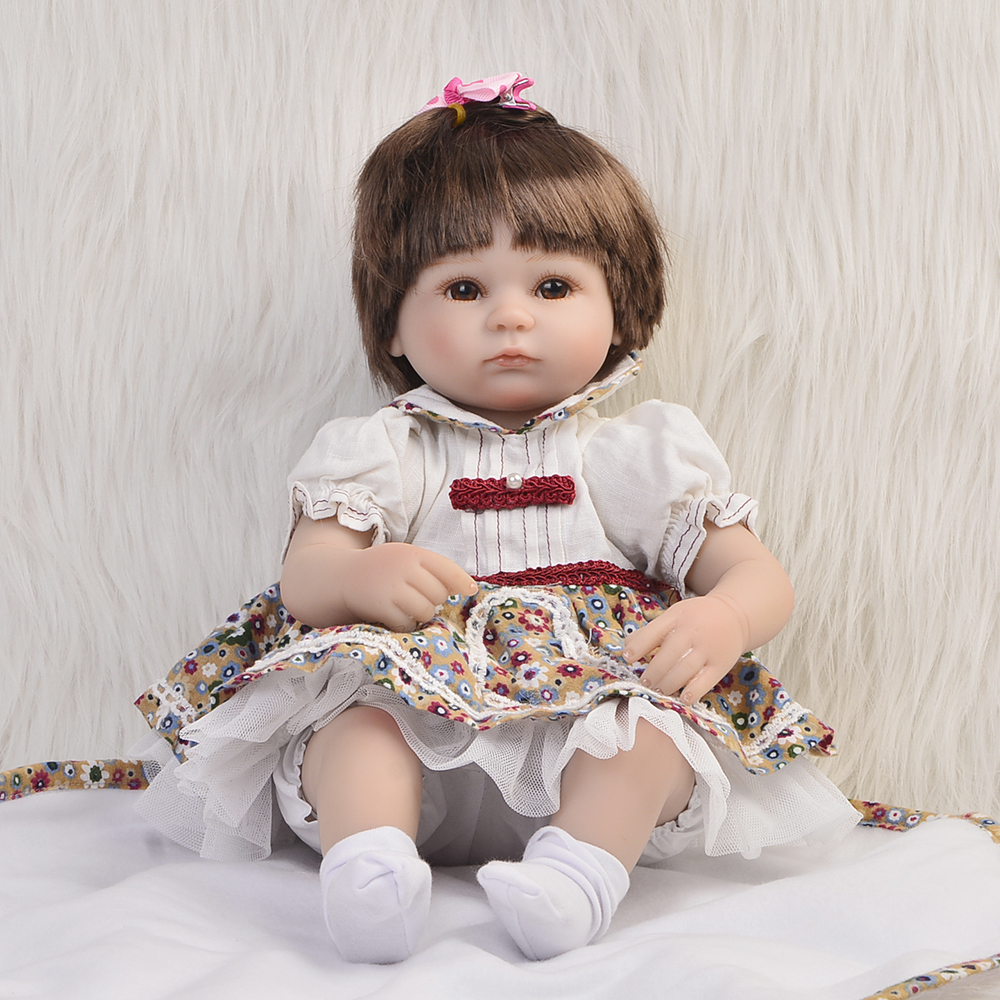 Hot Sale Realistic Baby Dolls Reborn Girl 16'' Lifelike Soft Silicone Babies Reborn Baby Doll Toys For Children Christmas Gift free shipping hot sale real silicon baby dolls 55cm 22inch npk brand lifelike lovely reborn dolls babies toys for children gift