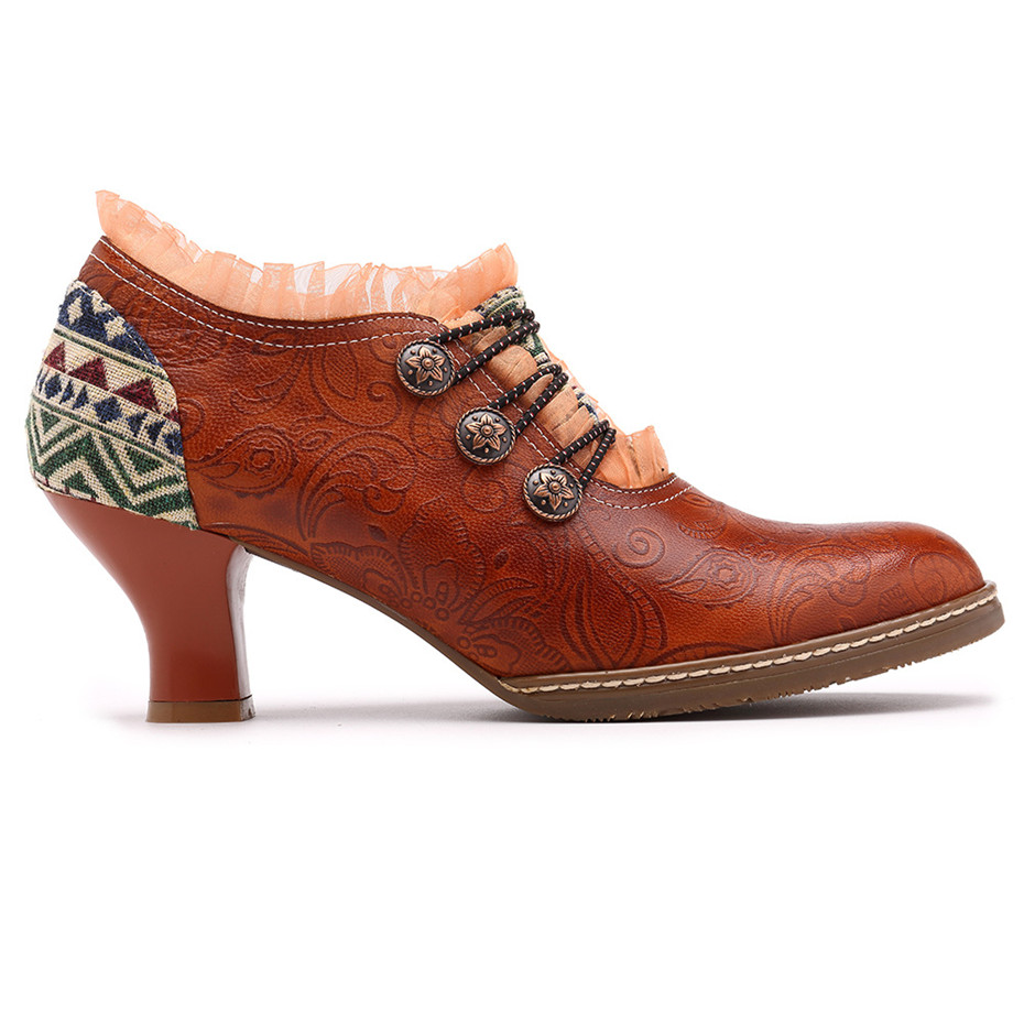 Wine Glasses Women Pumps European Vintage Hand Genuine Leather Shoes Embossed Stitching Spanish Style Four Seasons Women's Shoes (8)