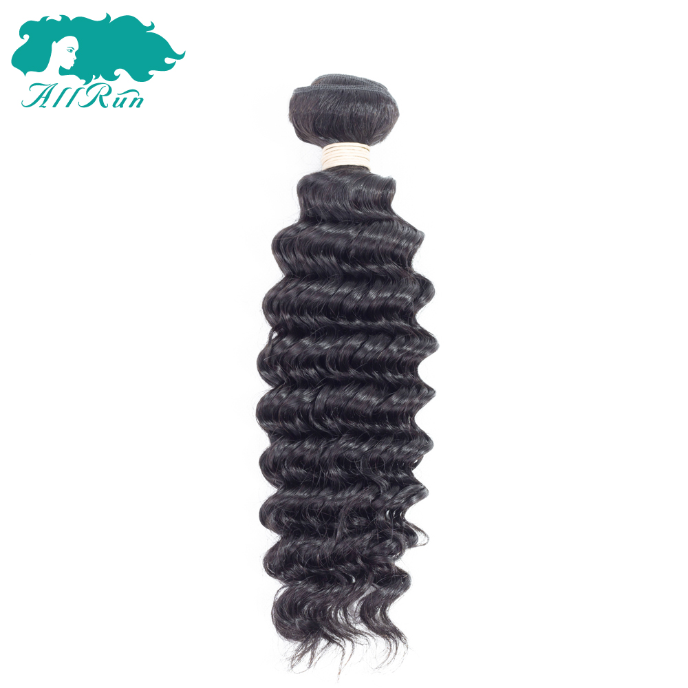 ALLRUN Hair Deep Wave 1 Bundle 100% Non-Remy Human Hair Extension Weave Natural Color Peruvian Hair Free Shipping