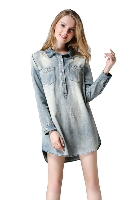 e28ddd9440 Little Smily Women s Light Washed Ripped Chambray Jeans Denim Shirt Dress  Long Sleeve