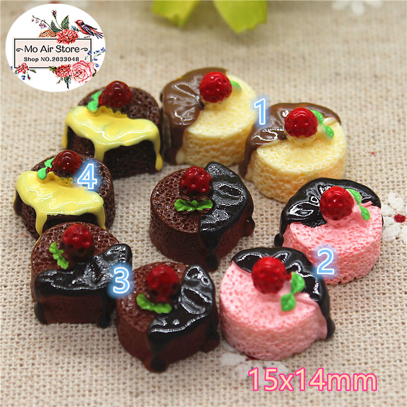 10pcs Resin 3D Strawberry Chocolate Cake Cabochon Miniature Food Art Supply Decoration Charm Craft