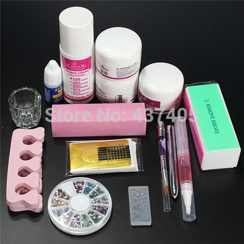 FT-114 free shipping Pro Clipper Acrylic Powder Liquid Glitter Brush Glue Nail Art Tips Tool Kit Set