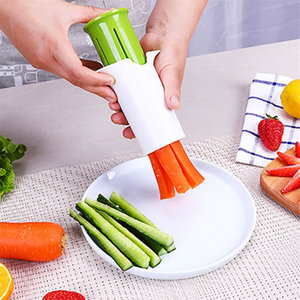 QueenTime Manual French Fry Cutter Fruits Vegetable Slicer Food Processors Kitchen Gadgets Potato Cutters Stainless Steel Press
