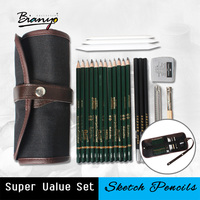 Bianyo 18Pcs Pencil Sketch Pencil Set Artist S Pencils Earser Drawing Supplies With Sketch Painting Canvas