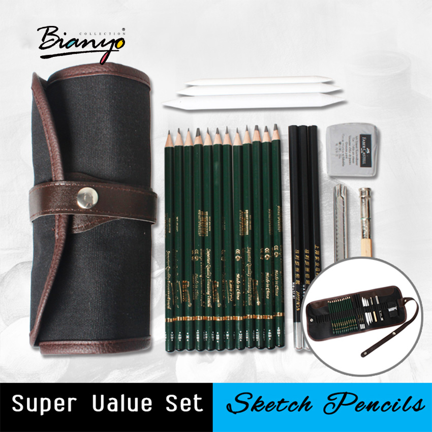 Bianyo 18Pcs Pencil Sketch Pencil Set Artist's Pencils Earser Drawing Supplies With Sketch Painting Canvas Pencil Bag Set Sketch mg chenguang 18pcs color pencil