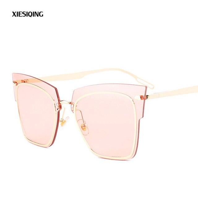 9b0c65635c7 XIESIQING Fashion Cat Eye Sunglasses Lady Mirror Barbie Pink Lady  Sunglasses Men s Metal Sunglasses