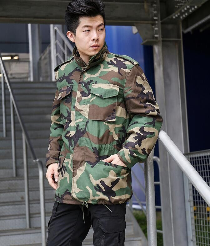 Men s Winter Camouflage Thicken Jacket Air Force M65 Windbreaker Waterproof Twill Cotton Bomber Jacket Men