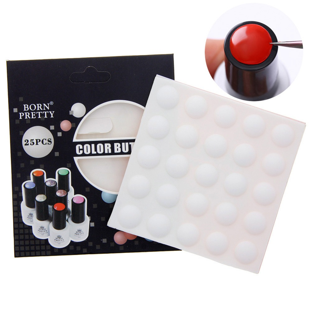 Color Button Uv Gel Polish Display Silicone Label Sticker Manicure Nail Art Tool Home