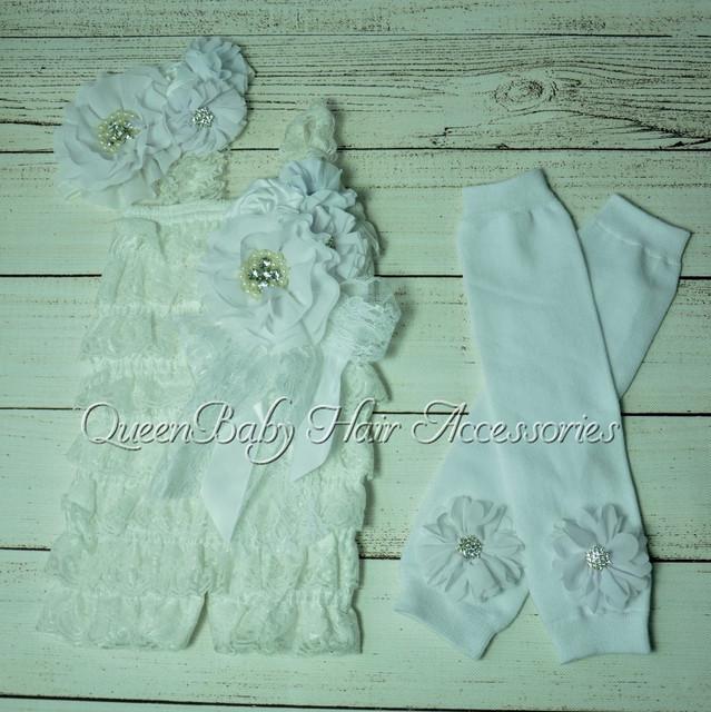 4 set/lote Menina Branca Bebê Lace Romper Set Cabeça de Correspondência Polainas e Clipe roupas de aniversário