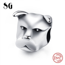SG New arrival Sterling Silver 925 customized dog head beads Fit Original pandora charm bracelet Jewelry making for women Gifts цена и фото