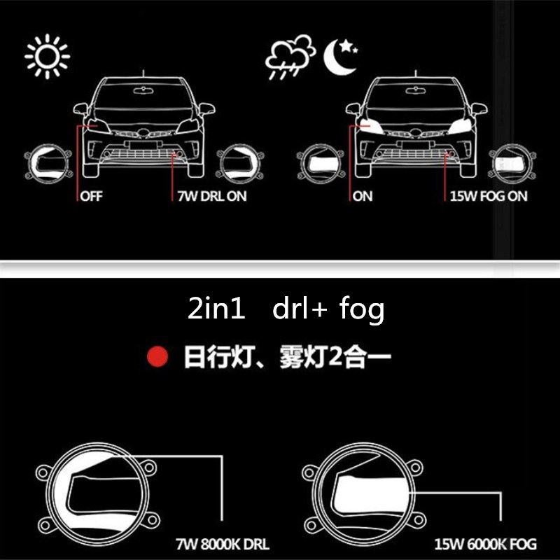 2in1 Highlight LED drl Daytime Running Light +LED Fog Lamp For toyota highlander 2009 2010 2011 myvi 1.3/1.5 2012