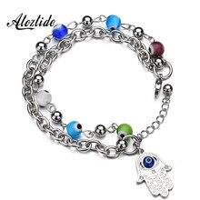 Atoztide Charms Fatima Hamsa Hand Blue Evil Eye Bracelets & Bangles Layer Beads Turkish Bohemia Pulseras For Women