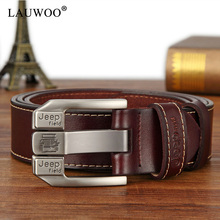 LAUWOO fashion mens casual genuine leather belt High quality cowhide retro buckle belt new design Brown Belts free shipping