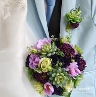 Hi Q artificial flower succulent plants wedding bouquet groom wedding corsage / boutonniere bridal wrist / hand flower purple