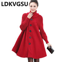 Winter Coat Women Warm Thick Cloak Greatcoat Turtleneck Female Clothes 2019 Woman Clothing Black Red Gray Windbreaker Is1543