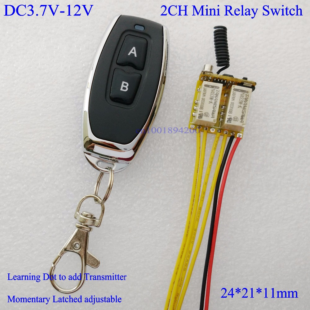 DC 3.7V 4.5V 5V 6V 7.4V 9V 12V Mini 2CH Relay Remote Switch Micro Wireless Switch NO COM NC Relay Receiver + Transmitter Contact dc 4v 5v 6v 7 4v 9v 12v mini relay remote control switch no com nc contact rf 15 pcs receiver transmitter wireless rx tx 315433