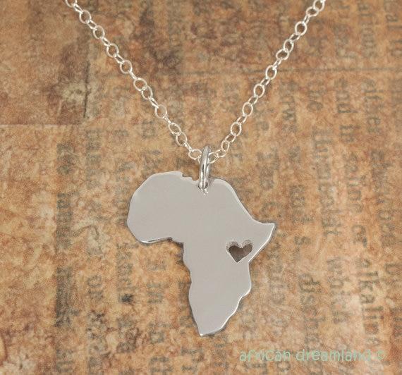 30 PCS-Contorno Africa Mappa Collana Con Cuore Paese del Sud Africano Mappa Collana Etiopia Ciondolo Africa Collane