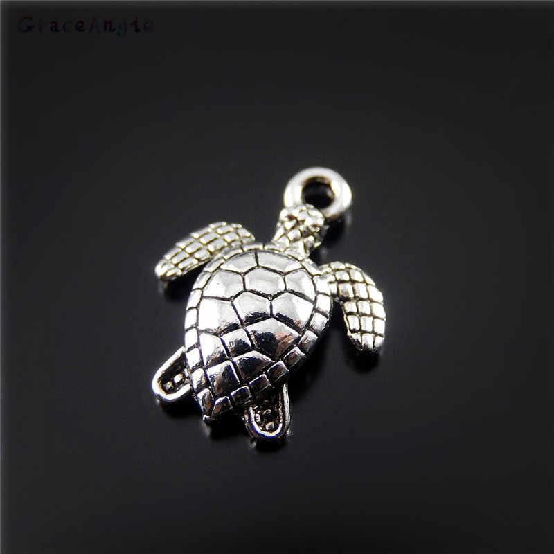 GraceAngie 50 pcs/pack Alloy Ancient Silver Pendant Necklace Accessories Underwater Creature Turtle Popular Fashion Style