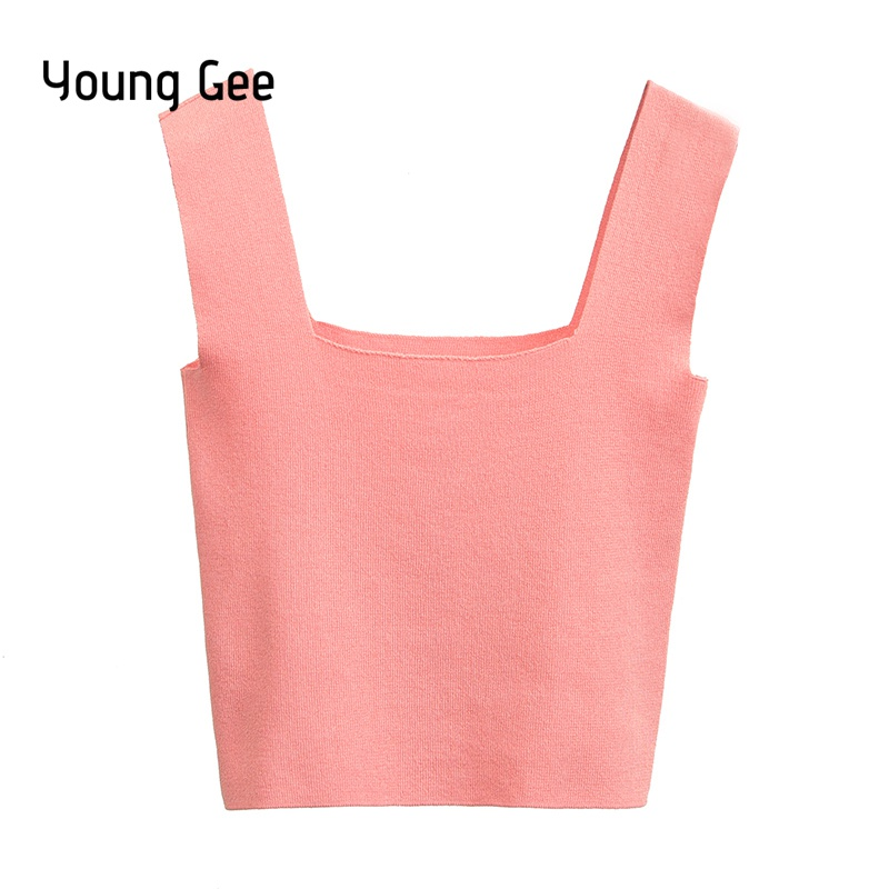 Young Gee Women Short Cropped Top Knitted Camisole Tank Tops Shirts 2018 Ladies Camis Female Sleeveless Fitness Summer Blouse