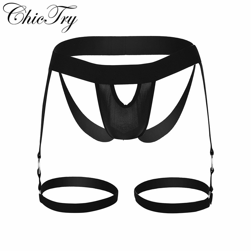 Sexy Mens Lingerie G-string Panties Bulge Pouch Open Butt Jockstrap Thongs G-string Underwear with Leg Garters Band and O-rings