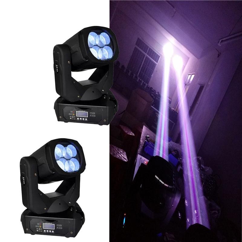 2 Pcs HOT Sell 4x25W LED Beam Moving Head Light Super Beam Moving Head DMX512 Sound Active Master/slave Stand Alone DJ Lighting