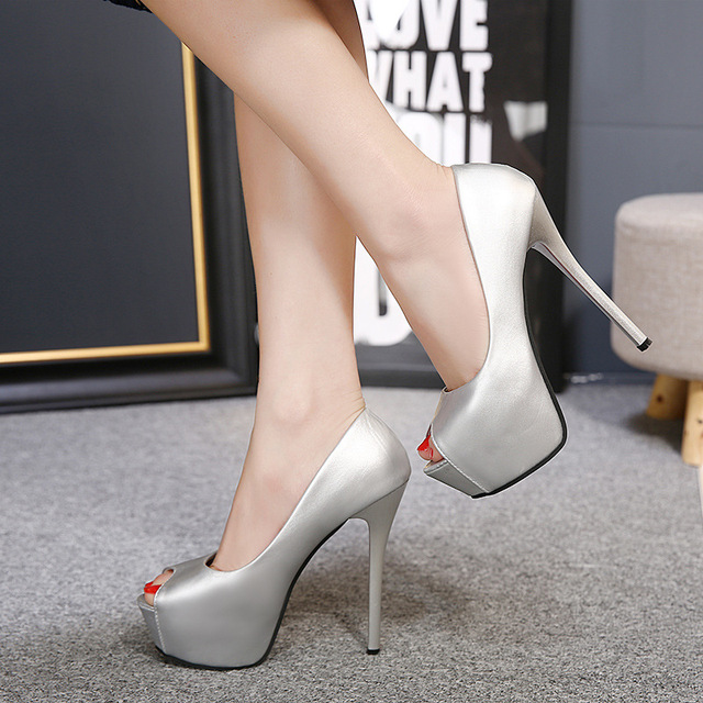Dropshipping 2018 Sexy Wedding Party Fetish Peep Toe shoes Woman Pumps Platform High Heel Pumps 14cm Silvery Gold shoes MC-63