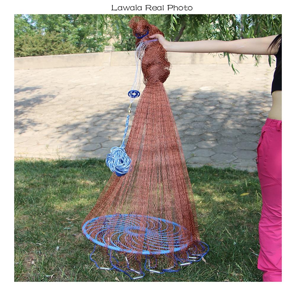 Lawaia Old Salt Cast Net Wurfnetz Reifen Linie Rotary Fishing Network Durchmesser 3m-5.4m Handfischernetz Werkzeug mit blauem Ring