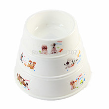 Dog Bowls Cartoon Print Plastic Dog Cat Food Bowl Anti Skid Portable Feeding and Watering Bowls