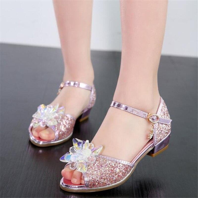 2019 Summer New Girls Sandals Fish Mouth Rhinestone High Heel Princess Shoes Korean Children's Wedding Party Dance Shoes