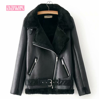Теплая женская зимняя мотоциклетная бархатная куртка женская короткая отворотная меховая Толстая Корейская версия плюс бархатная куртка ...