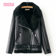 Velvet Jacket Short Motorcycle Korean-Version Female Warm Plus Thick Winter Women's Lapels-Fur