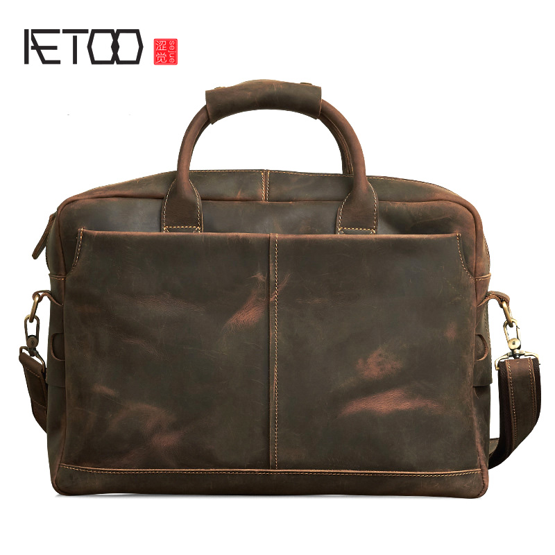 AETOO New Retro Crazy Horse Genuine Leather Men's Classic Handbag Messenger Shoulder Bag Travel Business Laptop Bag Briefcase ноттенбелт д паскоу р атлас болезней лошадей
