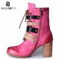 Prova Perfetto новый дизайнер британский стиль женские ботинки квадратный носок толстый каблук модные Сапоги и ботинки для девочек для женщин сде