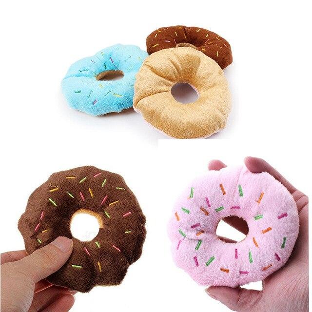 Carino Donuts del Cucciolo del Gatto Squeaker Squeaky Peluche Suono Giocattoli D