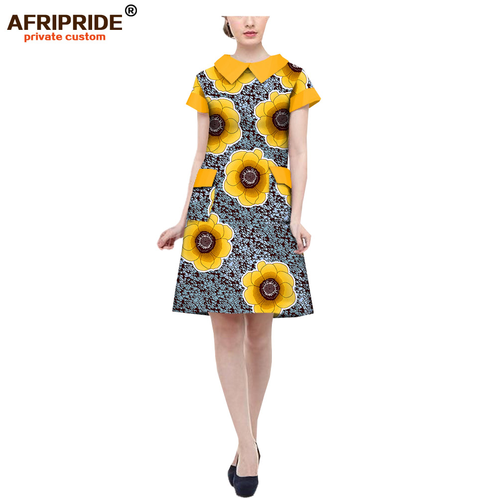 18 african autumn women casual dress AFRIPRIDE short sleeve notched collar knee length women dress with