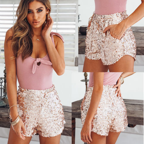 Women Hot Summer   Shorts   Beach High Waist   Short   Cover sequin