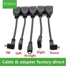 حتى أسفل اليمين اليسار بزاوية مايكرو HDMI إلى HDMI ذكر إلى شاحن أنثي موصل 10 سنتيمتر ل HDTV نوع D hdmi مايكرو hdmi كابل زاوية