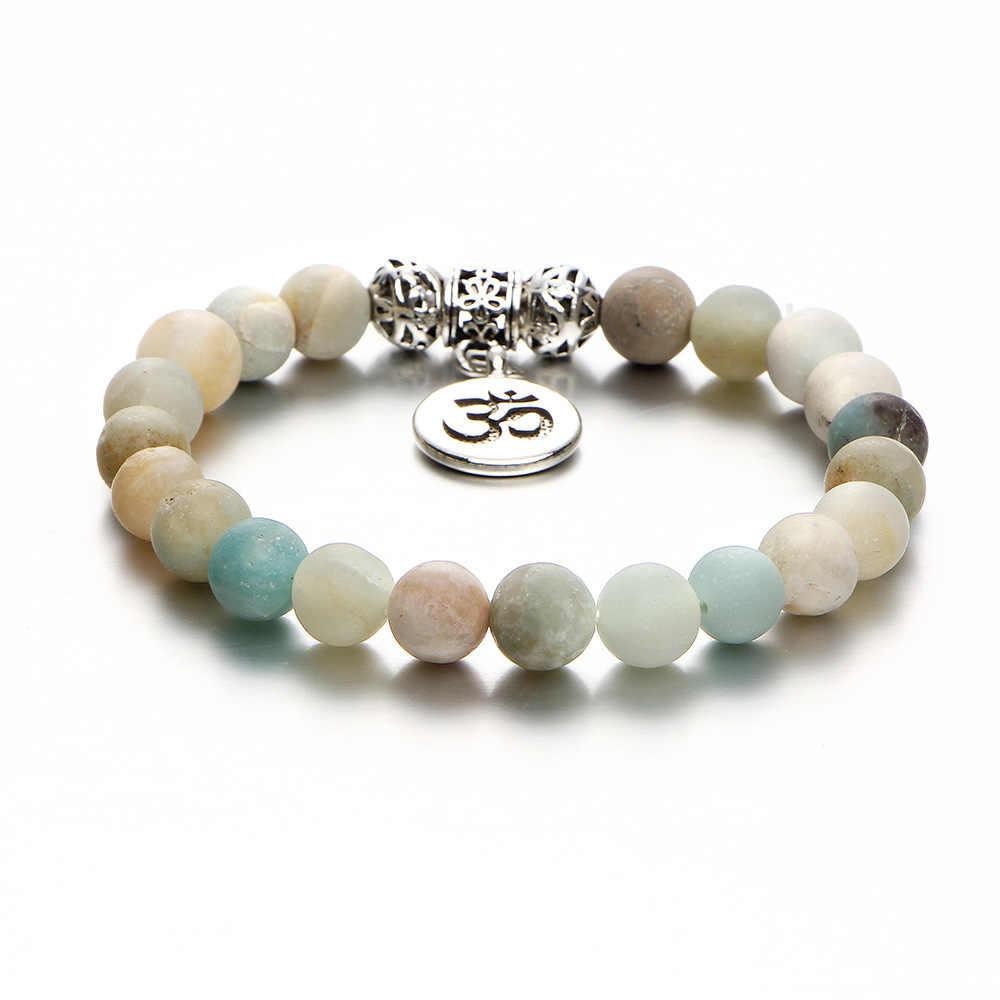 Новинка 2018, винтажные браслеты OM Rune, браслеты и браслеты для женщин и мужчин, натуральный камень, ручная работа, Браслет-манжета, бусины, браслет для йоги, подарок