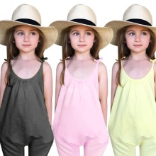 Kids Girls Jumpsuits Summer Baby Girl Clothes Solid Overalls Jumpsuit Bodysuits Soft Fashion Outfit