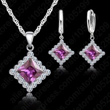 Classic Square Crystal Pendant Necklace&Earrings Jewelry Sets For Women Wedding 925 Sterling Silver Fashion Accessories(China)