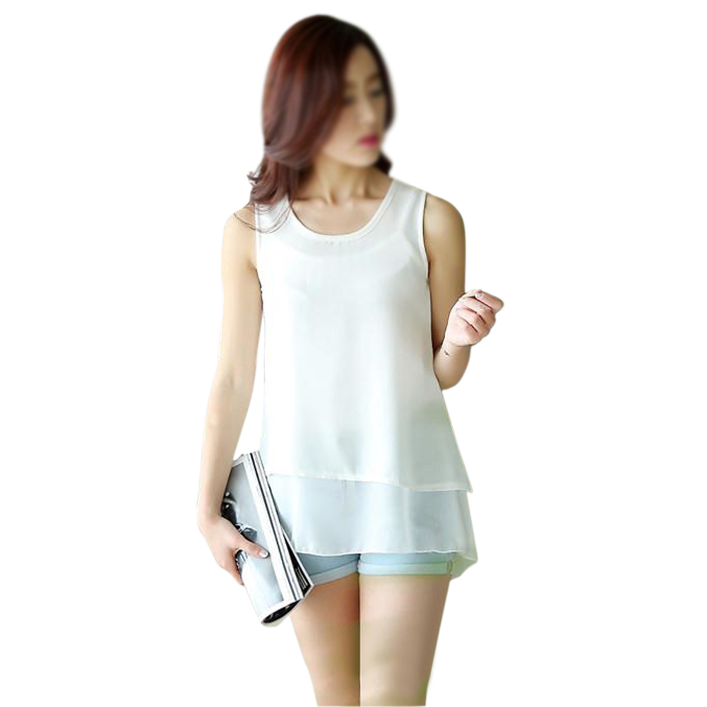 3e03d3ade9399 Womens Double Layer Chiffon Sleeveless Blouse Vest (White X Large ...